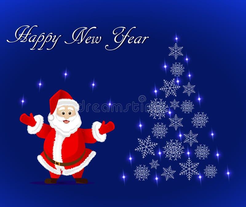 Ευχετήρια κάρτα με Άγιο Βασίλη και το αφηρημένο χριστουγεννιάτικο δέντρο snowflakes απεικόνιση αποθεμάτων