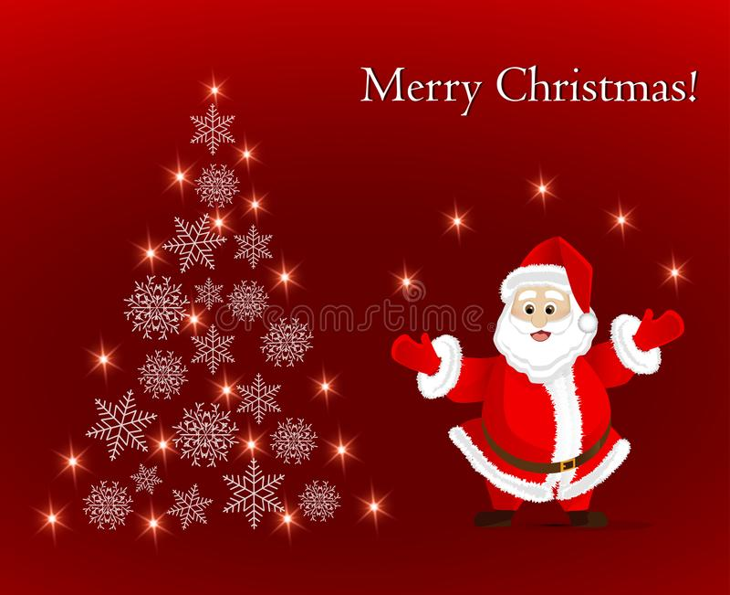 Ευχετήρια κάρτα με Άγιο Βασίλη και το αφηρημένο χριστουγεννιάτικο δέντρο snowflakes διανυσματική απεικόνιση