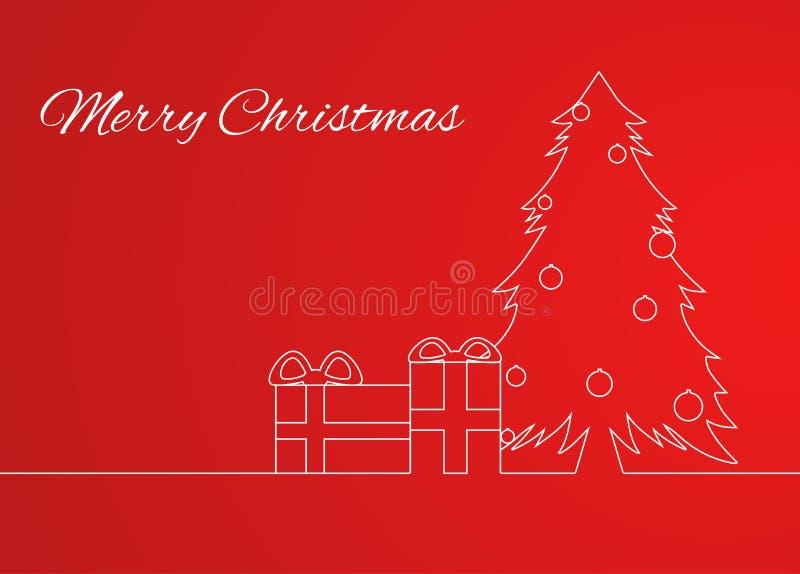 Ευχετήρια κάρτα με ένα απλό γραμμικό χριστουγεννιάτικο δέντρο σχεδίων απεικόνιση αποθεμάτων