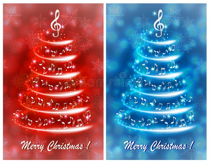 Ευχετήρια κάρτα με ένα αφηρημένο μουσικό χριστουγεννιάτικο δέντρο, με τις σημειώσεις και το τριπλό clef διανυσματική απεικόνιση