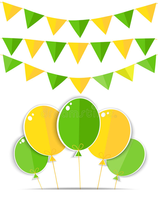 Ευχετήρια κάρτα με ένα πράσινο και κίτρινο μπαλόνι απεικόνιση αποθεμάτων