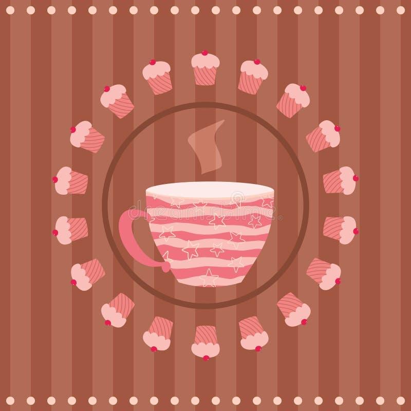 Ευχετήρια κάρτα με ένα φλυτζάνι του τσαγιού και cupcakes διανυσματική απεικόνιση