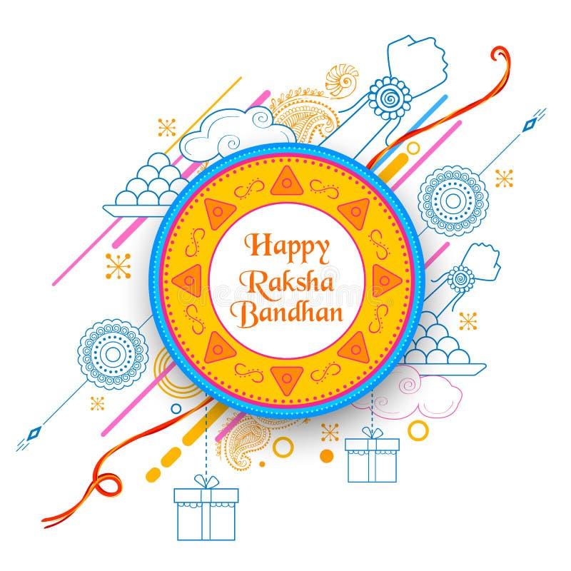 Ευχετήρια κάρτα με διακοσμητικό Rakhi για το υπόβαθρο Raksha Bandhan ελεύθερη απεικόνιση δικαιώματος