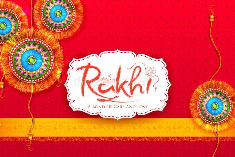 Ευχετήρια κάρτα με διακοσμητικό Rakhi για το υπόβαθρο Raksha Bandhan απεικόνιση αποθεμάτων