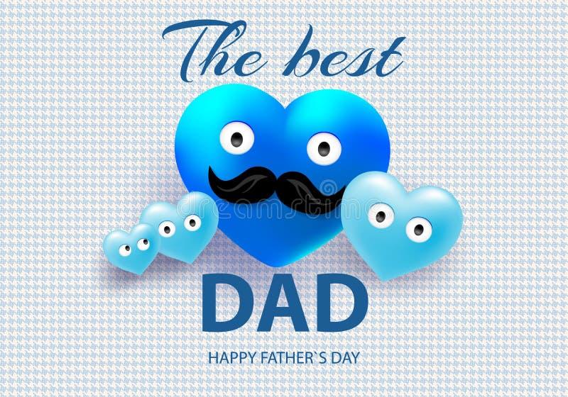 Ευχετήρια κάρτα με μια ευχετήρια κάρτα με ένα αστείο mustache στο πρόσωπό του με τις μικρές μπλε καρδιές σε ένα γεωμετρικό υπόβαθ ελεύθερη απεικόνιση δικαιώματος