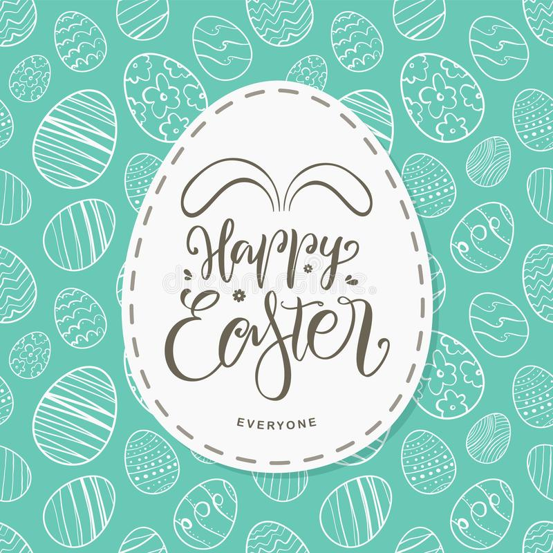 Ευχετήρια κάρτα με συρμένα τα χέρι αυγά, χειρόγραφη εγγραφή ευτυχούς Πάσχας το καθένα με τα αυτιά λαγουδάκι διανυσματική απεικόνιση
