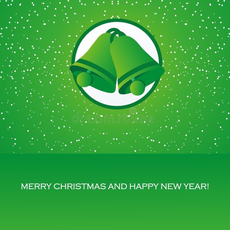 Ευχετήρια κάρτα με τα κουδούνια Χριστουγέννων διανυσματική απεικόνιση