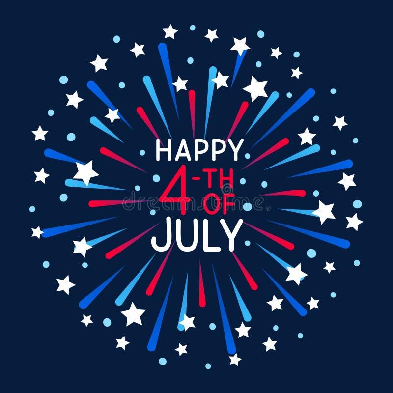 Ευχετήρια κάρτα με τα πυροτεχνήματα για τη ημέρα της ανεξαρτησίας απεικόνιση αποθεμάτων