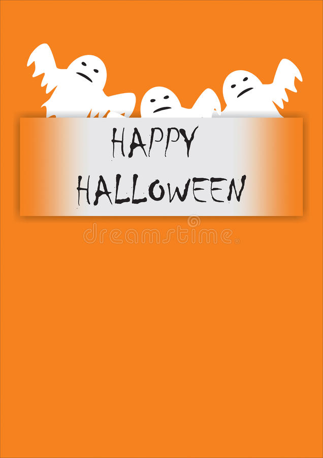 Ευχετήρια κάρτα με τα φαντάσματα απεικόνιση αποθεμάτων