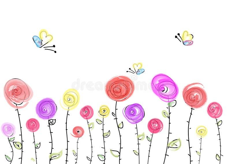 Ευχετήρια κάρτα με τα φωτεινές λουλούδια και τις πεταλούδες διανυσματική απεικόνιση