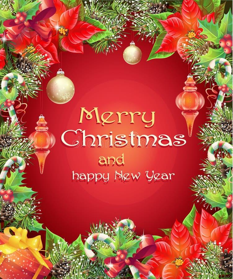 Ευχετήρια κάρτα με τα Χριστούγεννα και νέο δέντρο έτους με τους κλάδους, τους κώνους πεύκων, τα παιχνίδια, την καραμέλα και το λο διανυσματική απεικόνιση