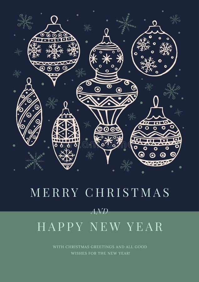 Ευχετήρια κάρτα με την εικόνα της συλλογής των άσπρων σφαιρών Χριστουγέννων στο σκοτεινό υπόβαθρο απεικόνιση αποθεμάτων