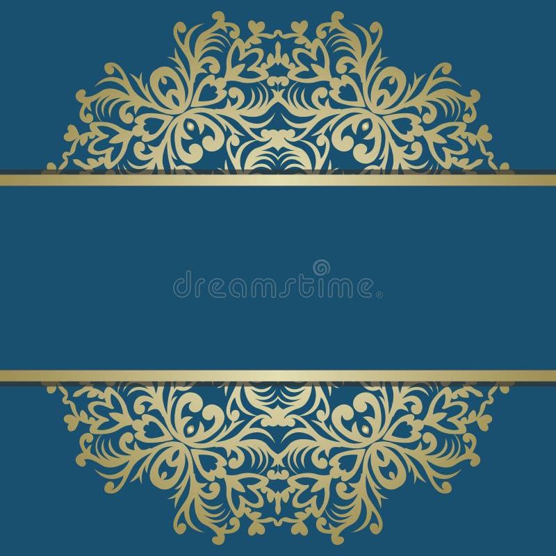 Ευχετήρια κάρτα με την εκλεκτής ποιότητας χρυσή διακόσμηση και θέση για το κείμενο SIG ελεύθερη απεικόνιση δικαιώματος