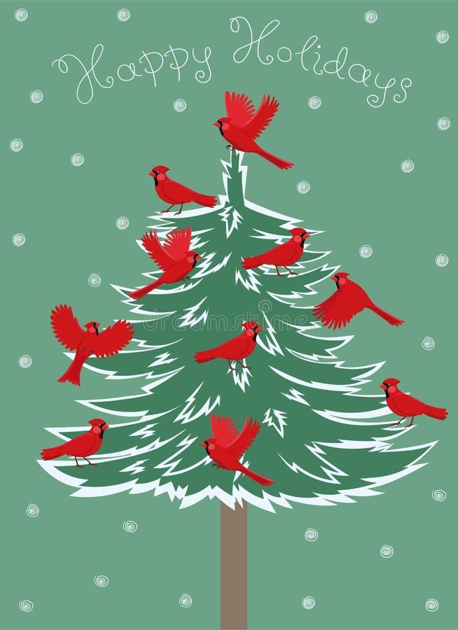 Ευχετήρια κάρτα με την κόκκινη βασική συνεδρίαση πουλιών στο χριστουγεννιάτικο δέντρο r ελεύθερη απεικόνιση δικαιώματος