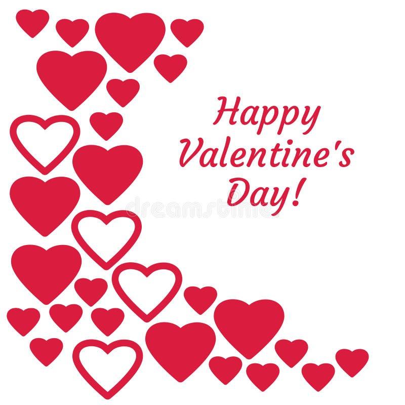 Ευχετήρια κάρτα με την κόκκινη ημέρα καρδιών και ευτυχή βαλεντίνων επιγραφής r ελεύθερη απεικόνιση δικαιώματος