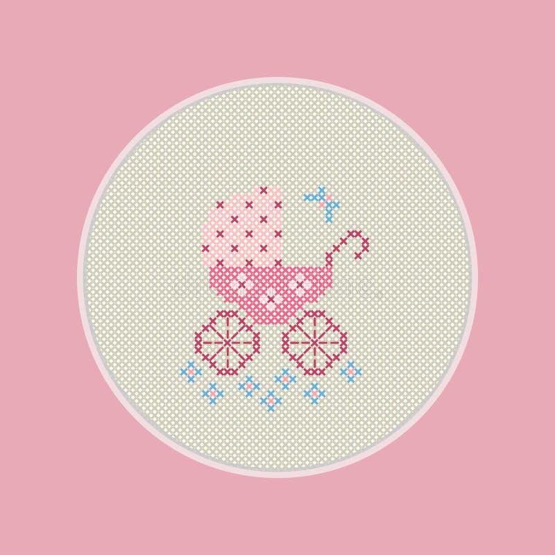 Ευχετήρια κάρτα με τη γέννηση ενός παιδιού Υπάρχει κεντημένη μεταφορά μωρών σε ένα ρόδινο χρώμα στην εικόνα ελεύθερη απεικόνιση δικαιώματος