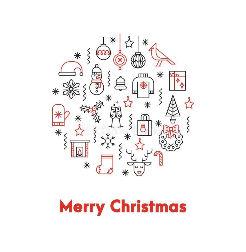 Ευχετήρια κάρτα με τη λεπτή γραμμών Χαρούμενα Χριστούγεννα λέξεων εικονιδίων ANS μεγάλη κόκκινη απεικόνιση αποθεμάτων