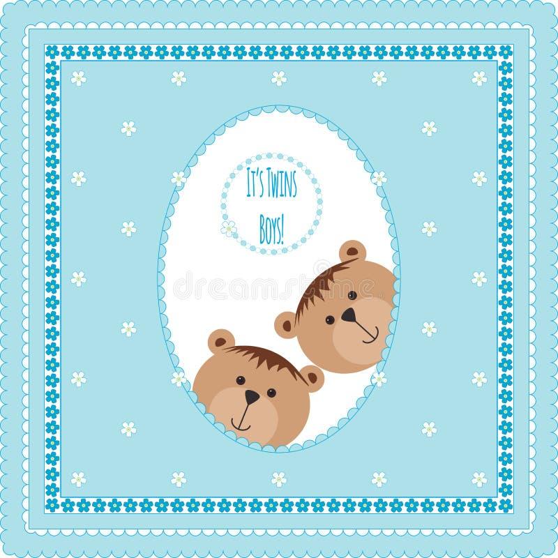 Ευχετήρια κάρτα με τις teddy αρκούδες και τα λουλούδια απεικόνιση αποθεμάτων