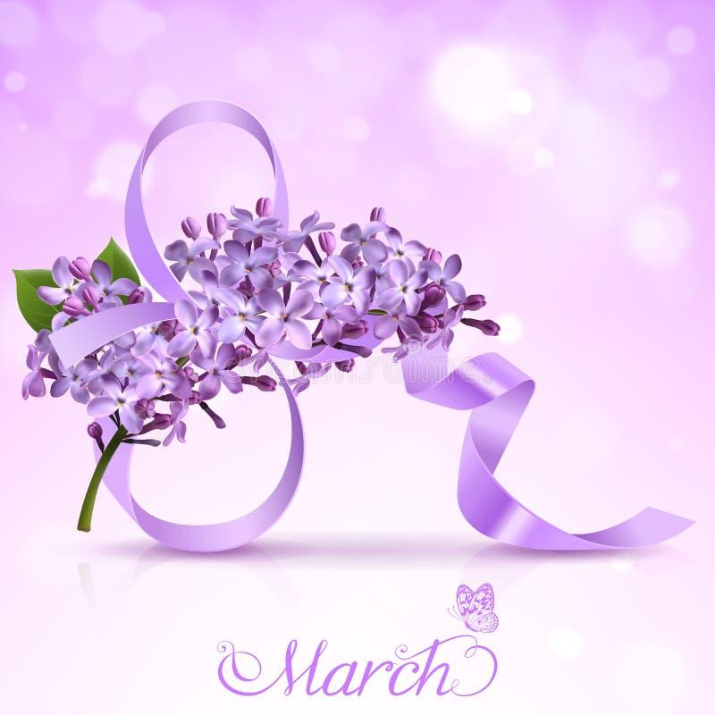 Ευχετήρια κάρτα με τον όγδοο του Μαρτίου και τα λουλούδια της πασχαλιάς ελεύθερη απεικόνιση δικαιώματος