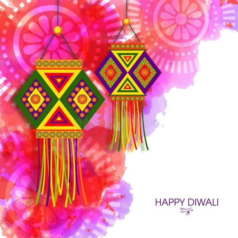 Ευχετήρια κάρτα με τους λαμπτήρες & x28 Kandil& x29  για Diwali ελεύθερη απεικόνιση δικαιώματος