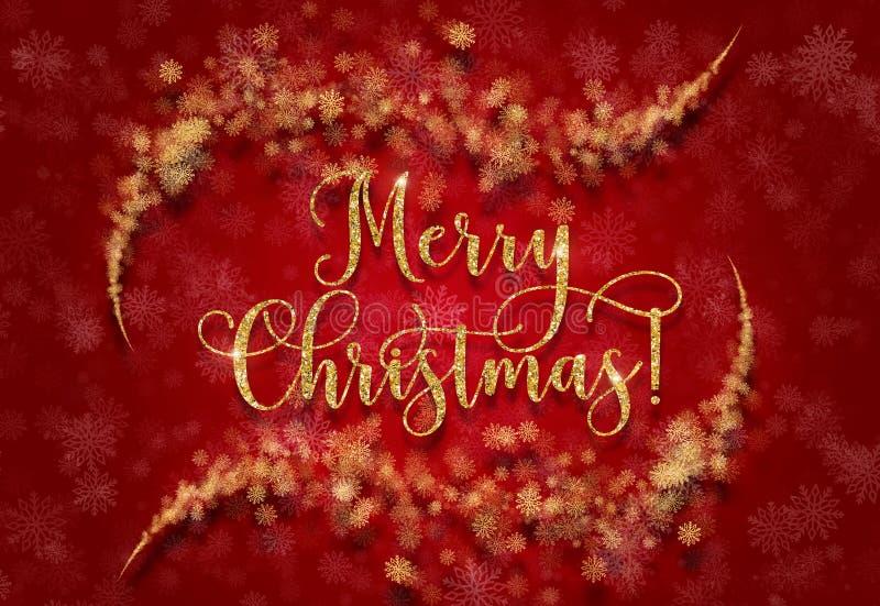 Ευχετήρια κάρτα με το ασημένιο κείμενο σε ένα μπλε υπόβαθρο Ακτινοβολήστε Χαρούμενα Χριστούγεννα φράσης διανυσματική απεικόνιση