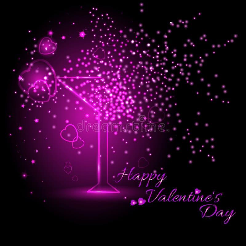Ευχετήρια κάρτα με το γυαλί κρασιού την ημέρα του βαλεντίνου 14 Φεβρουαρίου ημέρα για όλους τους εραστές ελεύθερη απεικόνιση δικαιώματος