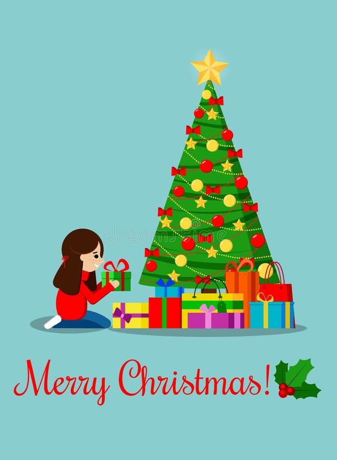 Ευχετήρια κάρτα με το διακοσμημένο χριστουγεννιάτικο δέντρο με το αστέρι, σφαίρες διακοσμήσεων και τόξα, δώρα κάτω από τις ερυθρε διανυσματική απεικόνιση