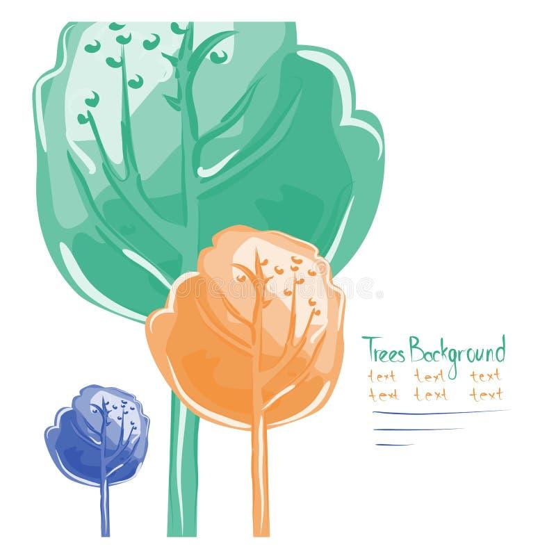 Ευχετήρια κάρτα με το ζωηρόχρωμο ξύλο τρία ελεύθερη απεικόνιση δικαιώματος