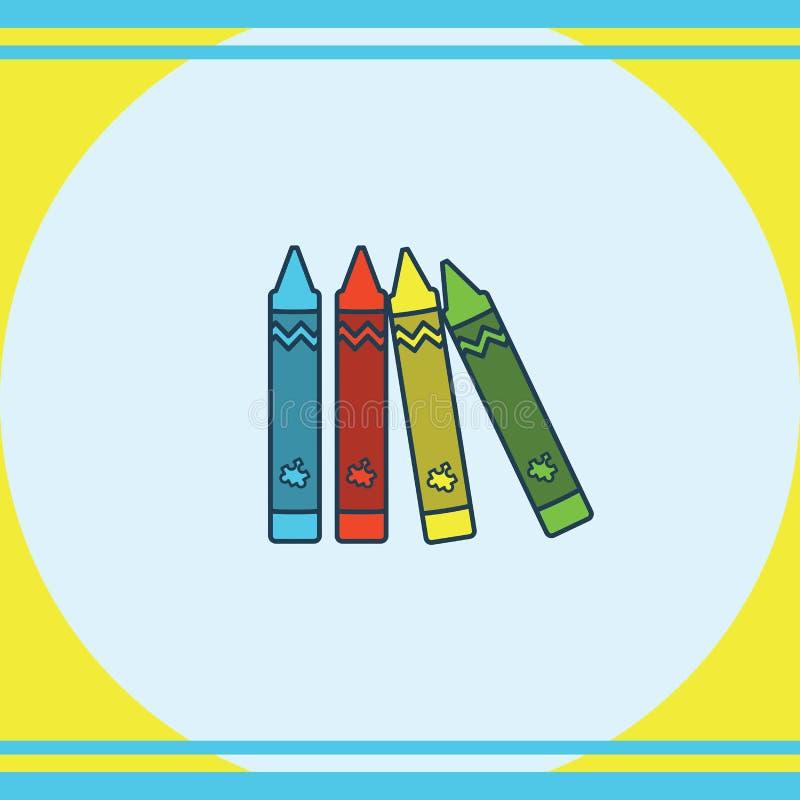 Ευχετήρια κάρτα με το ζωηρόχρωμο σύμβολο κραγιονιών διανυσματική απεικόνιση
