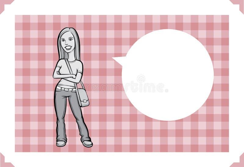 Ευχετήρια κάρτα με το κορίτσι στα τζιν ελεύθερη απεικόνιση δικαιώματος