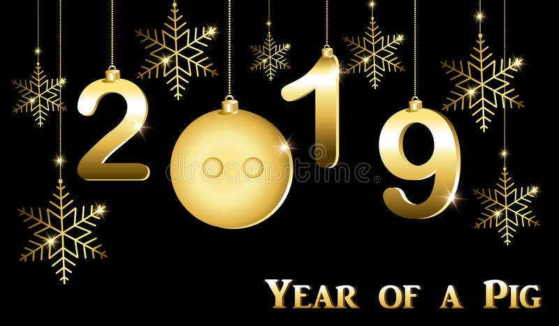 Ευχετήρια κάρτα με το νέο έτος, το έτος του χοίρου ελεύθερη απεικόνιση δικαιώματος