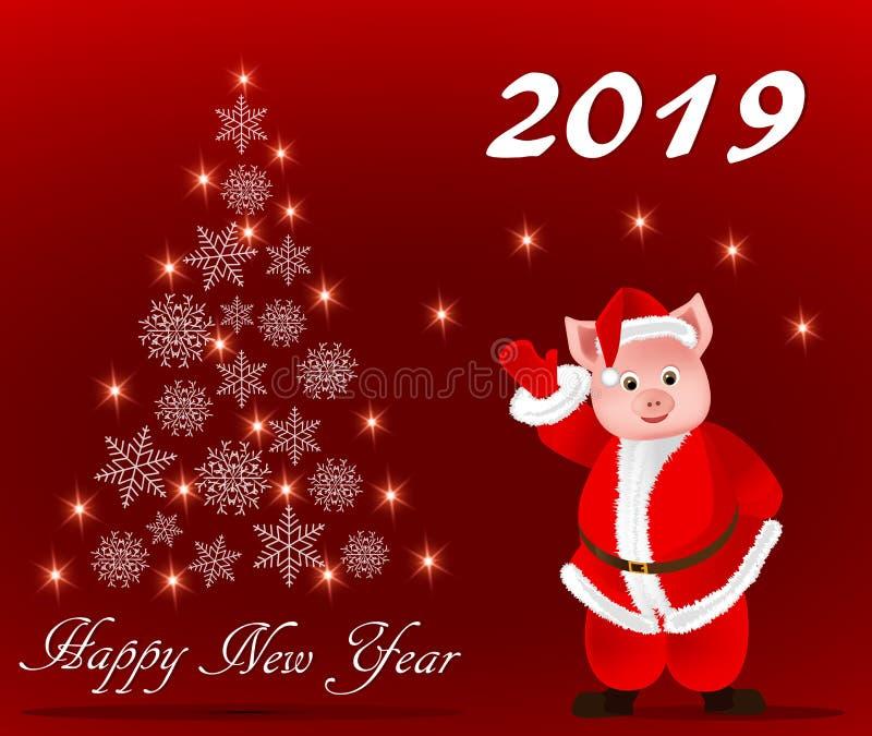 Ευχετήρια κάρτα με το νέο έτος, το έτος του χοίρου απεικόνιση αποθεμάτων