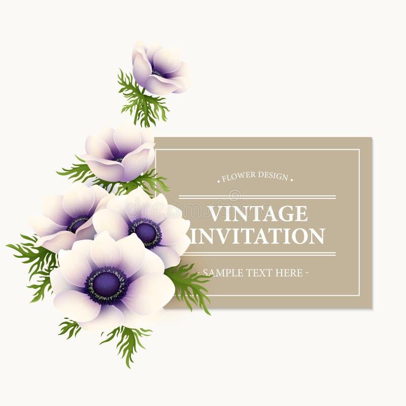 Ευχετήρια κάρτα με το λουλούδι anemone διάνυσμα ελεύθερη απεικόνιση δικαιώματος