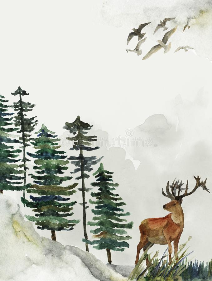 Ευχετήρια κάρτα με το υπόβαθρο του δάσους και των βουνών Θέμα παιδιών ` s κάρτα με τα ελάφια wildlife διανυσματική απεικόνιση