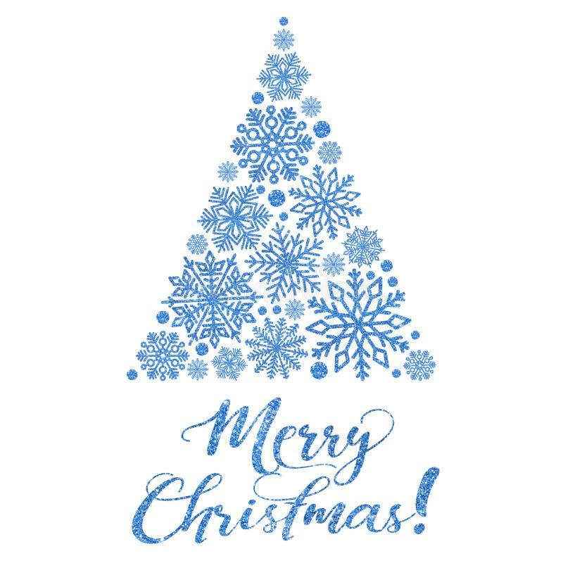 Ευχετήρια κάρτα με το φωτεινό μπλε κείμενο και αφηρημένο χριστουγεννιάτικο δέντρο σε ένα άσπρο υπόβαθρο διανυσματική απεικόνιση