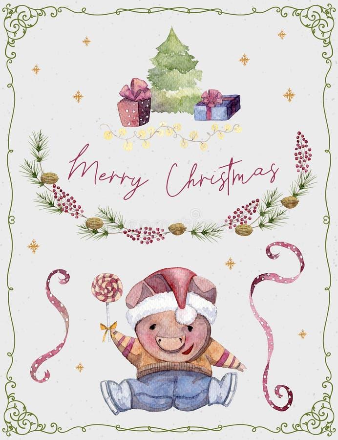 Ευχετήρια κάρτα με το χαριτωμένο χοίρο, το δέντρο έλατου, τα δώρα, τα αστέρια, τα μούρα και serpentine χαρακτήρας κινουμένων σχ&e απεικόνιση αποθεμάτων