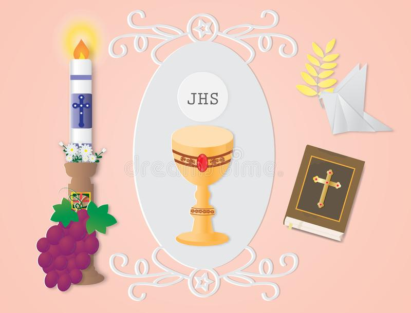 Ευχετήρια κάρτα με το χριστιανικά σημάδι και το σύμβολο θρησκείας ελεύθερη απεικόνιση δικαιώματος