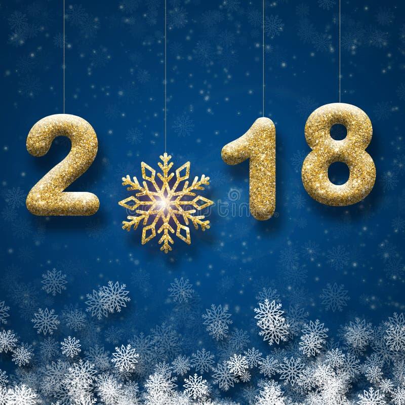 Ευχετήρια κάρτα με το χρυσό κείμενο 2018 και μεγάλο snowflake σε ένα μπλε υπόβαθρο στοκ εικόνες