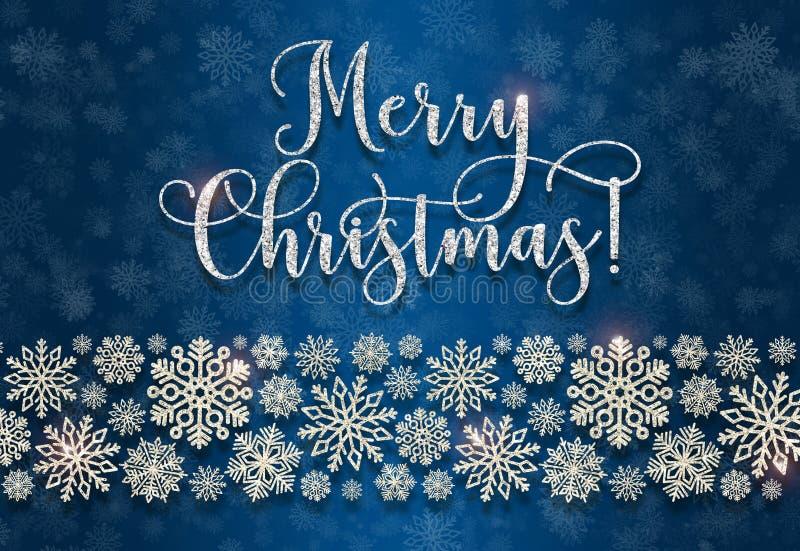 Ευχετήρια κάρτα με το χρυσό κείμενο σε ένα μπλε υπόβαθρο Ακτινοβολήστε Χαρούμενα Χριστούγεννα στοκ φωτογραφία με δικαίωμα ελεύθερης χρήσης