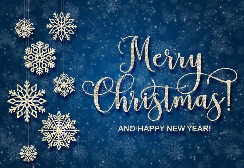 Ευχετήρια κάρτα με το χρυσό κείμενο σε ένα μπλε υπόβαθρο Ακτινοβολήστε Χαρούμενα Χριστούγεννα και καλή χρονιά ελεύθερη απεικόνιση δικαιώματος