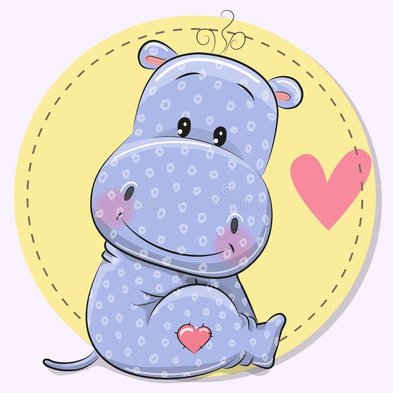 Ευχετήρια κάρτα με χαριτωμένο Hippo ελεύθερη απεικόνιση δικαιώματος