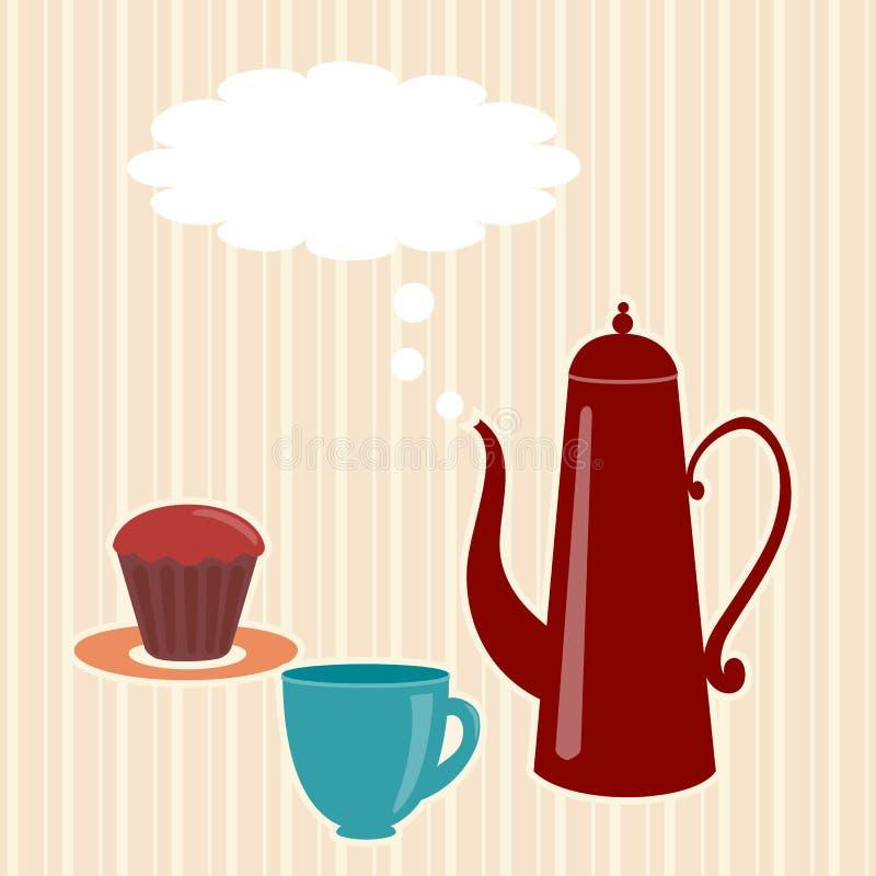 Ευχετήρια κάρτα με teapot διανυσματική απεικόνιση