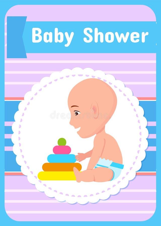 Ευχετήρια κάρτα ντους μωρών, διανυσματικό νήπιο στην πάνα ελεύθερη απεικόνιση δικαιώματος