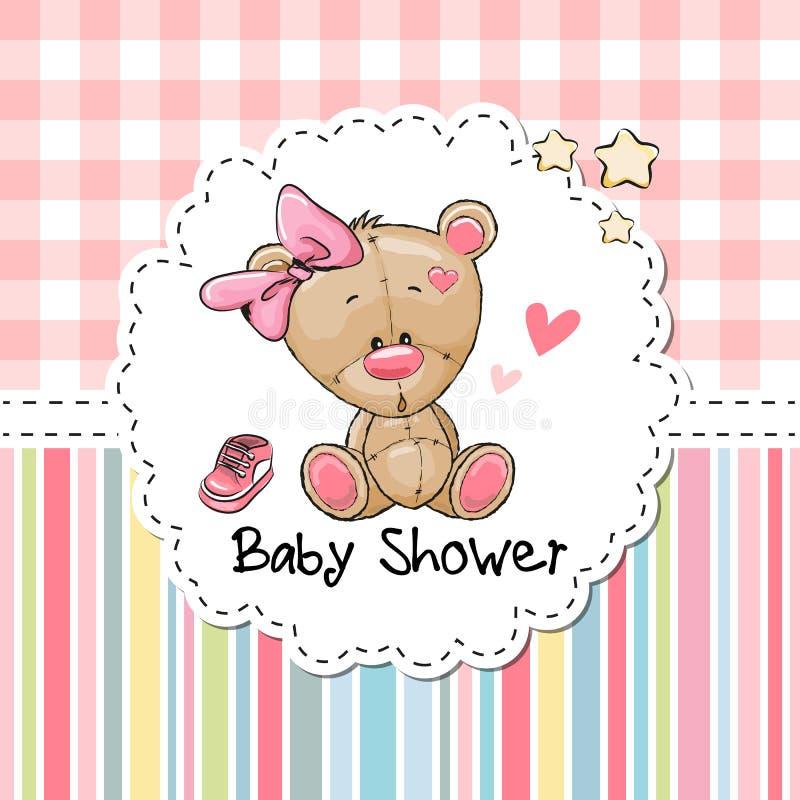 Ευχετήρια κάρτα ντους μωρών με την αρκούδα ελεύθερη απεικόνιση δικαιώματος