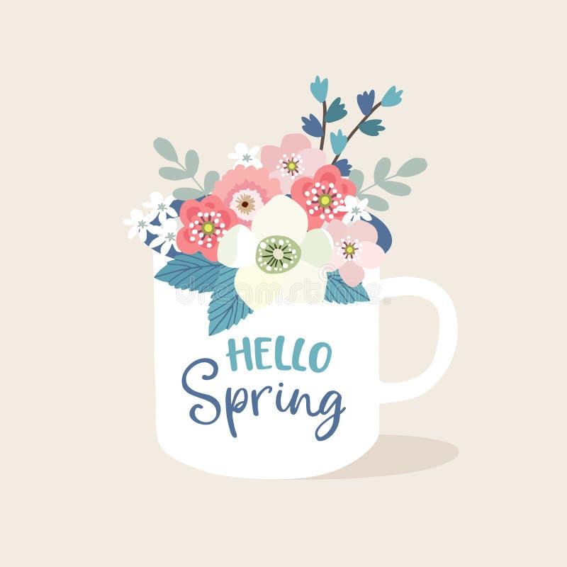 Ευχετήρια κάρτα Πάσχας, πρόσκληση Χειρόγραφο γειά σου κείμενο ανοίξεων Συρμένη χέρι κούπα τσάι φλυτζανιών Κούπα πορσελάνης διανυσματική απεικόνιση