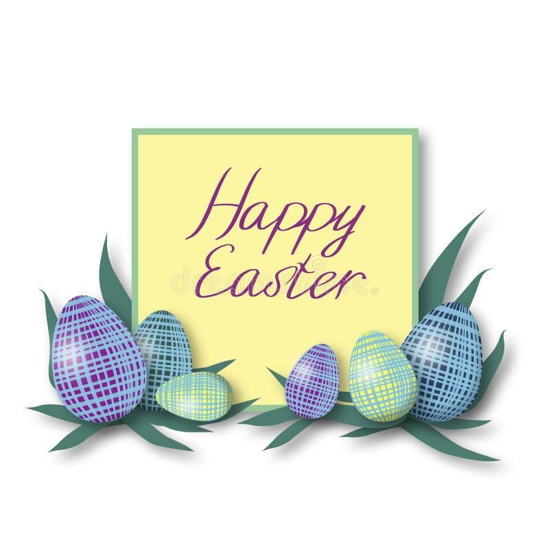 Ευχετήρια κάρτα Πάσχας HappyHappy με τα ζωηρόχρωμα αυγά και πράσινο πλαίσιο με το πορφυρό κείμενο χρώματος απεικόνιση αποθεμάτων