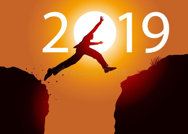 Ευχετήρια κάρτα που παρουσιάζει ένα άτομο που πηδά μεταξύ δύο βράχων για να περάσει το 2019 απεικόνιση αποθεμάτων