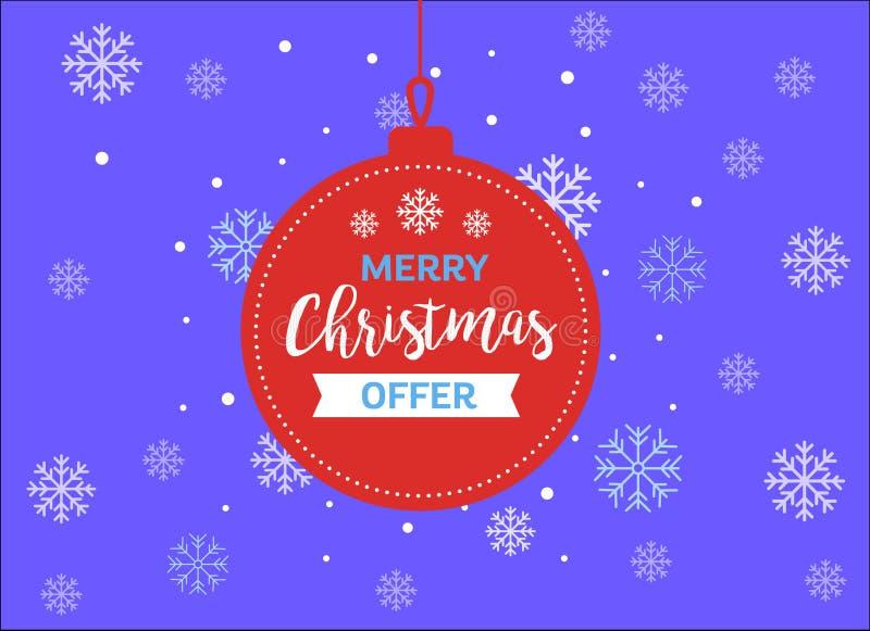 Ευχετήρια κάρτα προσφοράς Χαρούμενα Χριστούγεννας και διανυσματική εικόνα καλής χρονιάς ελεύθερη απεικόνιση δικαιώματος