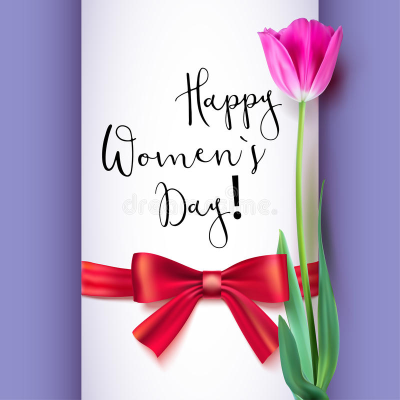 Ευχετήρια κάρτα προτύπων με την τουλίπα και το κόκκινο τόξο Ευτυχής ημέρα γυναικών s, συγχαρητήρια για τους συμπαθητικούς και καλ ελεύθερη απεικόνιση δικαιώματος