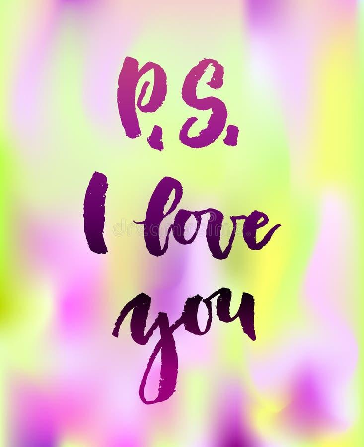 Ευχετήρια κάρτα Π S σ' αγαπώ με την καλλιγραφία ελεύθερη απεικόνιση δικαιώματος